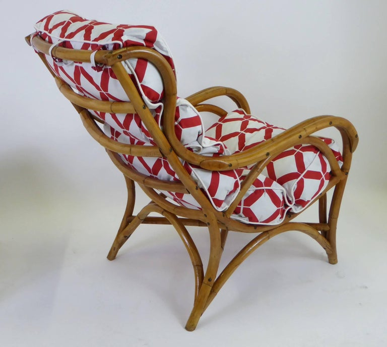 Mid-20th Century 1940s Rattan Lounge Chair and Ottoman Paul Frankl Willow and Reed Style For Sale