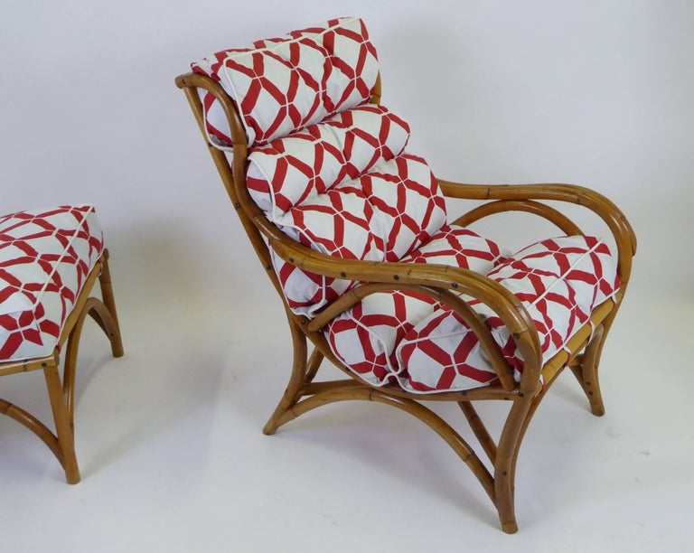 1940s Rattan Lounge Chair and Ottoman Paul Frankl Willow and Reed Style For Sale 1