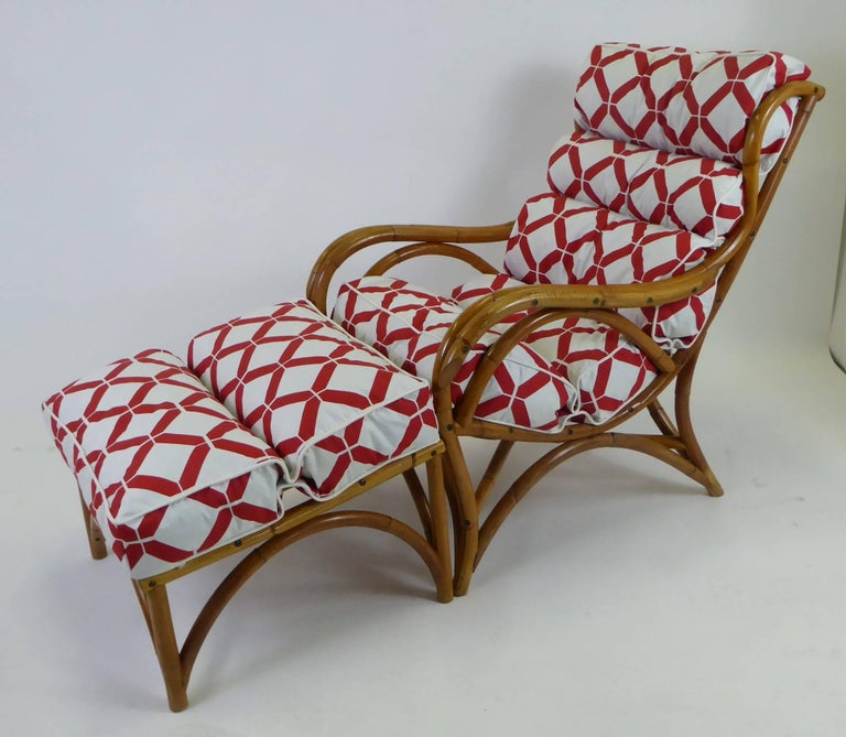 1940s Rattan Lounge Chair and Ottoman Paul Frankl Willow and Reed Style For Sale 9
