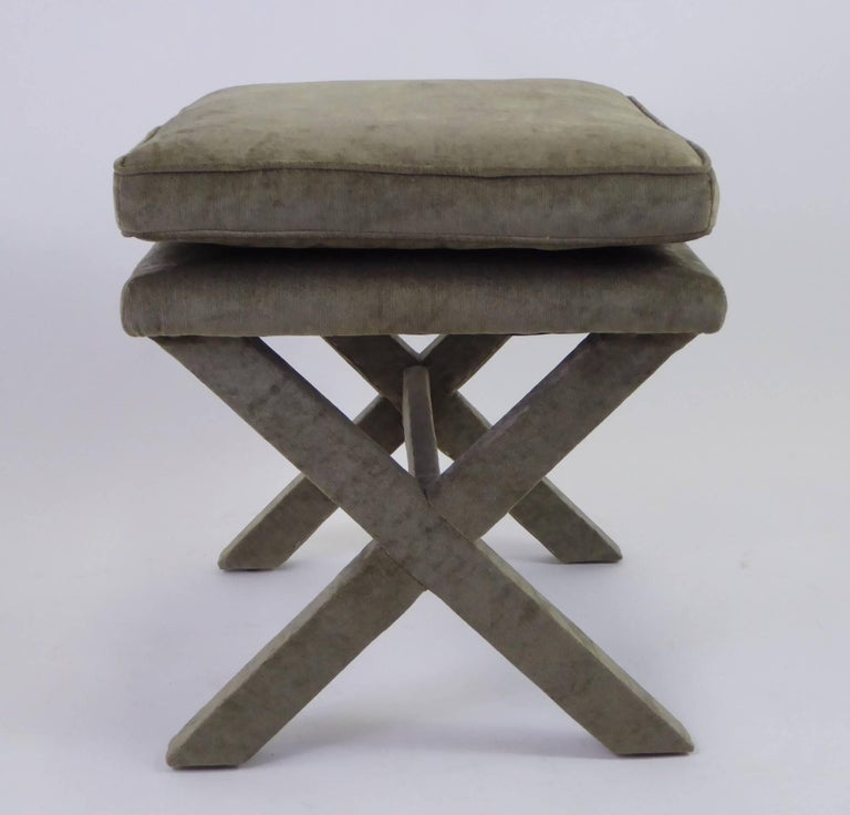 Mid-Century Modern 1960s Velvet X-Bench Stool in the Style of Billy Baldwin For Sale