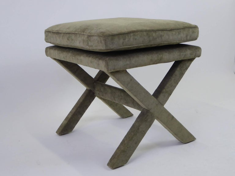American 1960s Velvet X-Bench Stool in the Style of Billy Baldwin For Sale