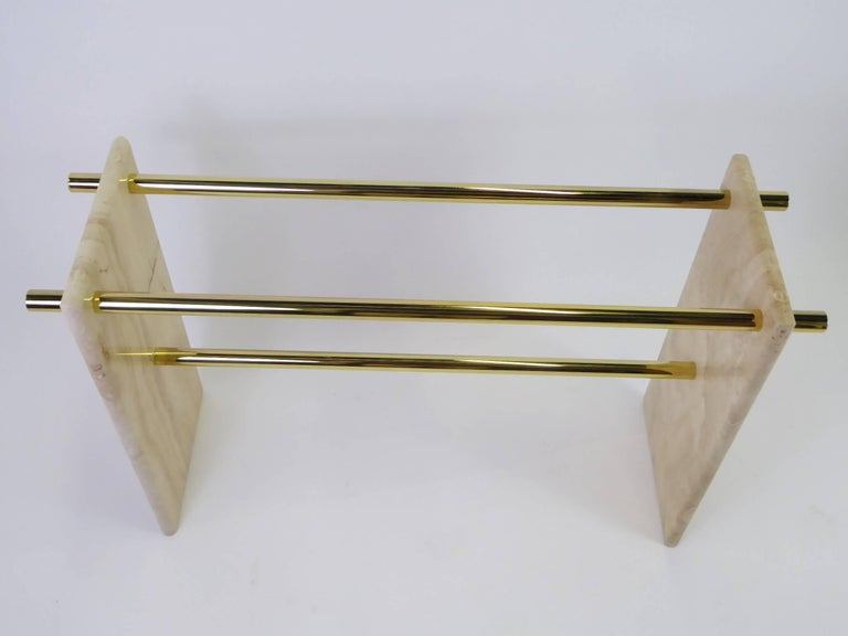 Italian 1970s Travertine and Brass Glass Top Console Sofa Table For Sale