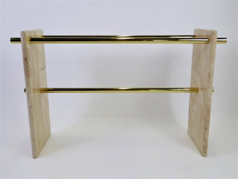 1970s Travertine and Brass Glass Top Console Sofa Table For Sale 2