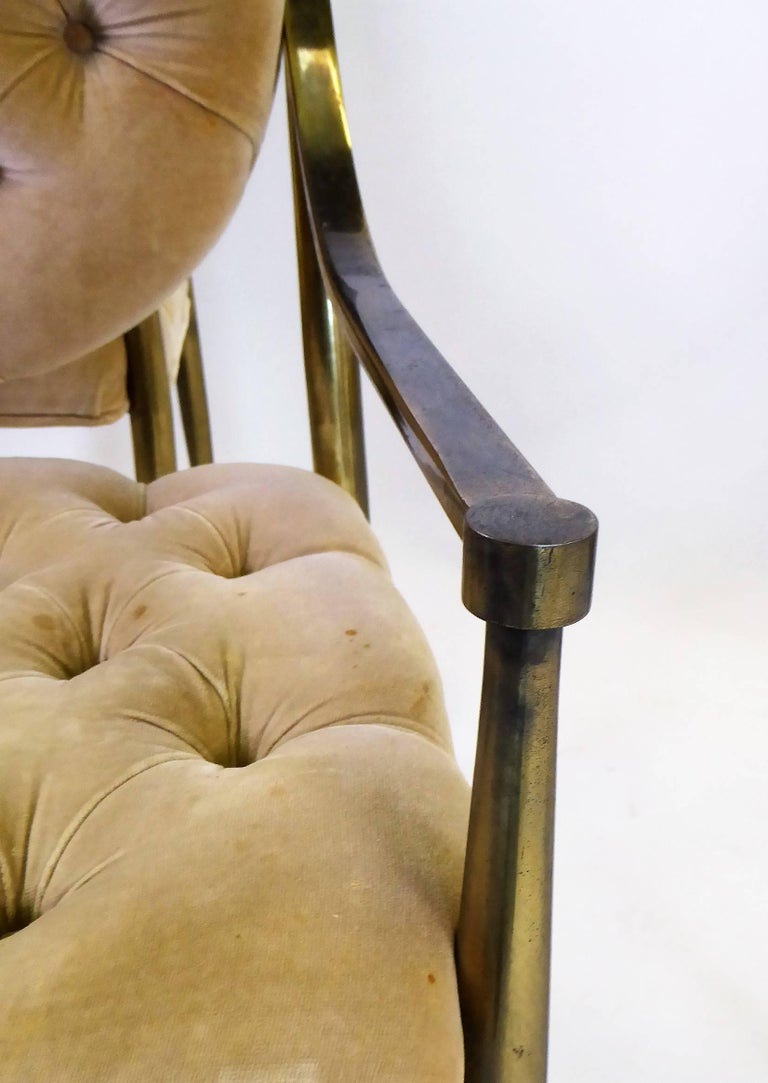 Mid-20th Century Six 1960s Mastercraft Antiqued Brass Tufted Velvet Dining Chairs For Sale