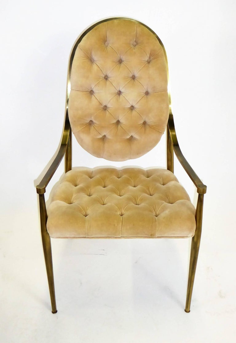 Hollywood Regency Six 1960s Mastercraft Antiqued Brass Tufted Velvet Dining Chairs For Sale