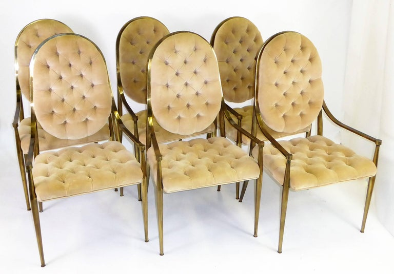 Six 1960s Mastercraft Antiqued Brass Tufted Velvet Dining Chairs For Sale 2