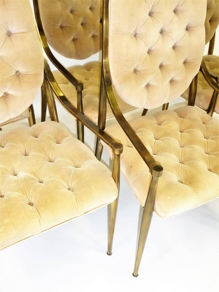 Six 1960s Mastercraft Antiqued Brass Tufted Velvet Dining Chairs For Sale 3