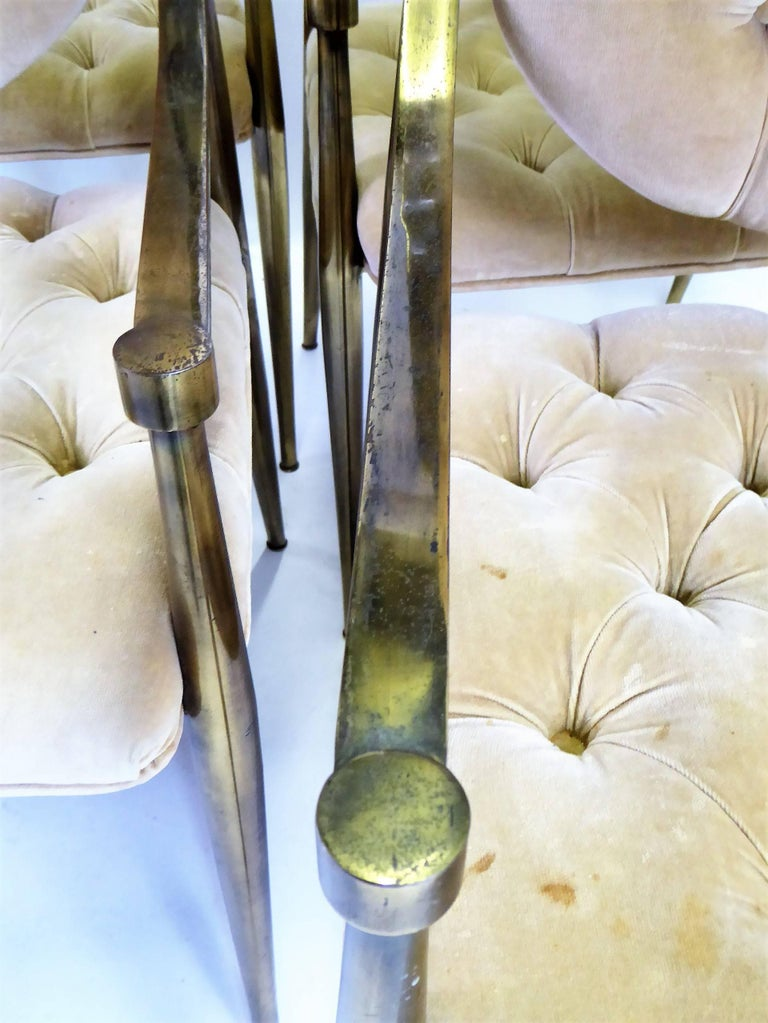 Six 1960s Mastercraft Antiqued Brass Tufted Velvet Dining Chairs For Sale 6