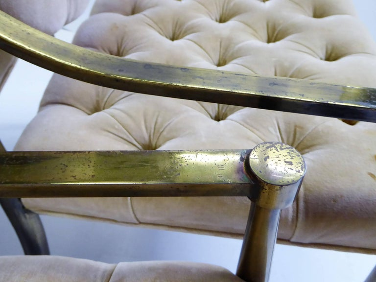 Six 1960s Mastercraft Antiqued Brass Tufted Velvet Dining Chairs For Sale 7