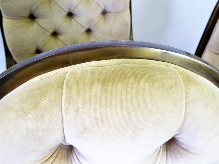 Six 1960s Mastercraft Antiqued Brass Tufted Velvet Dining Chairs For Sale 5