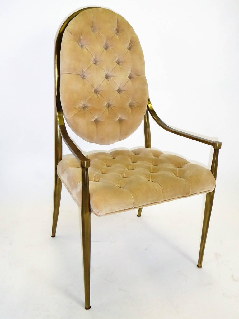 American Six 1960s Mastercraft Antiqued Brass Tufted Velvet Dining Chairs For Sale