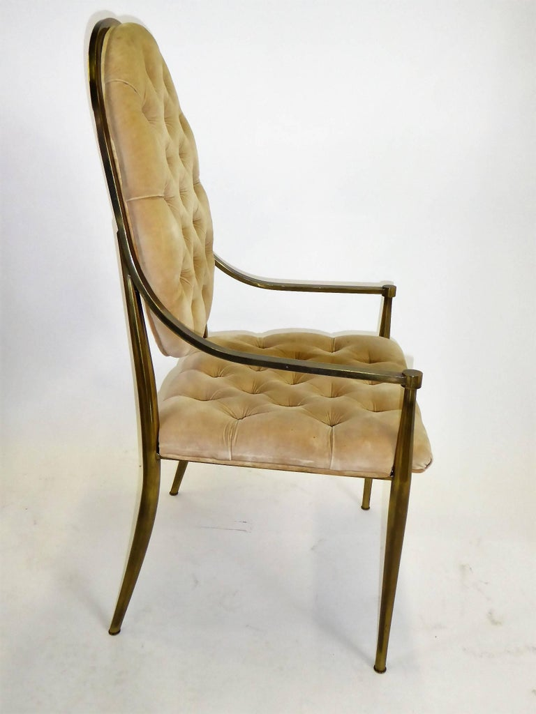 Patinated Six 1960s Mastercraft Antiqued Brass Tufted Velvet Dining Chairs For Sale