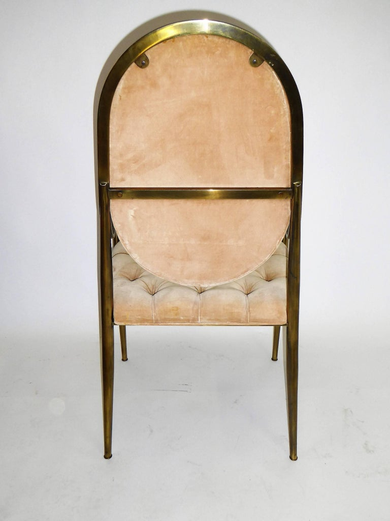Six 1960s Mastercraft Antiqued Brass Tufted Velvet Dining Chairs For Sale 1