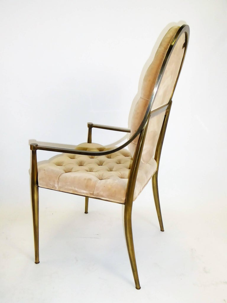 Six 1960s Mastercraft Antiqued Brass Tufted Velvet Dining Chairs In Good Condition For Sale In Miami, FL