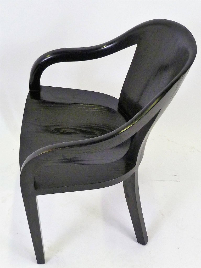 Ward Bennett 1550 University Black Ash Armchair for Brickel Associates In Good Condition For Sale In Miami, FL