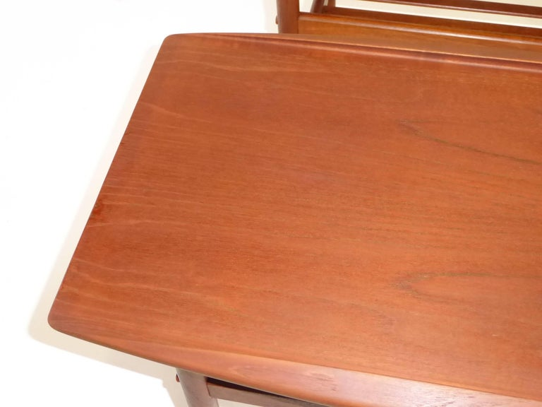 Turned 1960s Grete Jalk Teak Side Tables for Poul Jeppesen For Sale