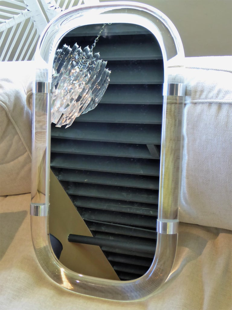 American Karl Springer Attributed Floating Lucite Mirror For Sale