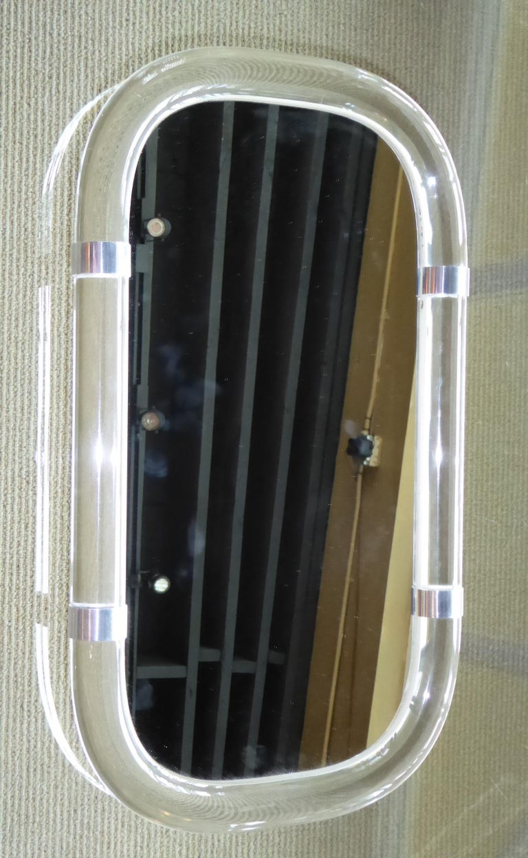 Karl Springer Attributed Floating Lucite Mirror For Sale 1