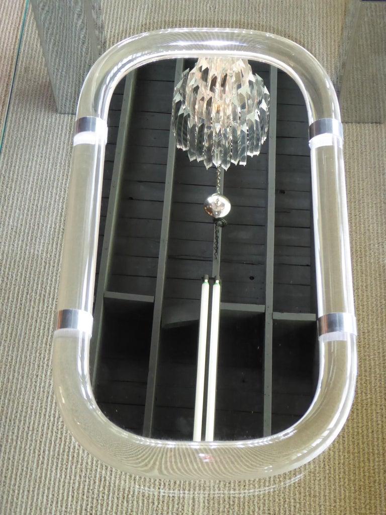 Karl Springer Attributed Floating Lucite Mirror For Sale 2