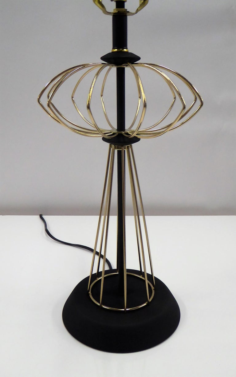 1950s Space Atomic Age Table Lamp Brass and Wood In Good Condition For Sale In Miami, FL