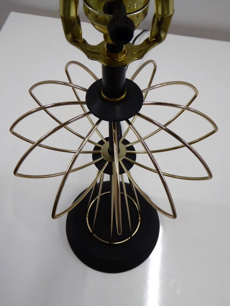 1950s Space Atomic Age Table Lamp Brass and Wood For Sale 1