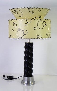 1940s Russell Wright Spun Aluminum and Black Wood Table Lamp