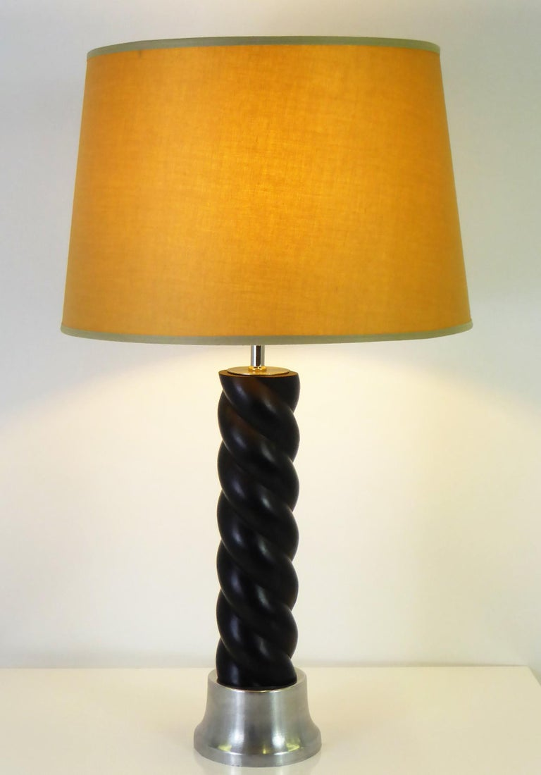 Mid-20th Century 1940s Russell Wright Spun Aluminum and Black Wood Table Lamp For Sale