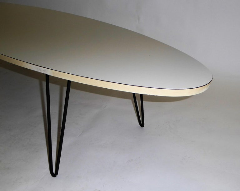 1950s Surfboard Coffee Table on Hairpin Legs Eames Style For Sale 1