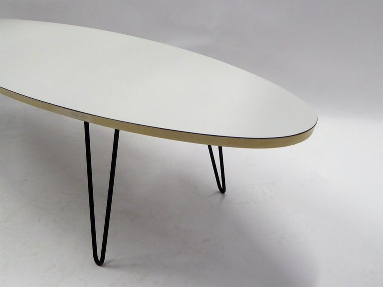 American 1950s Surfboard Coffee Table on Hairpin Legs Eames Style For Sale