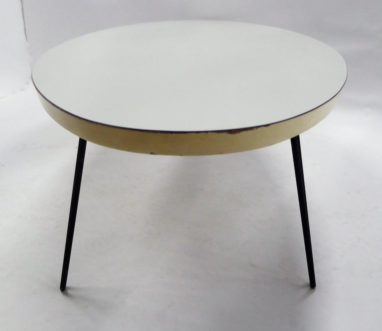 1950s Surfboard Coffee Table on Hairpin Legs Eames Style In Good Condition For Sale In Miami, FL
