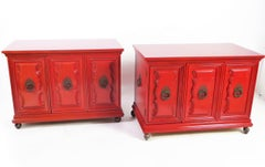 Hollywood Regency Red Lacquer Bedside Tables by Weiman