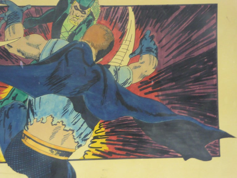 Late 20th Century Green Arrow and Manhunter, 1970 DC Comics Superhero Painting Ink Watercolor For Sale