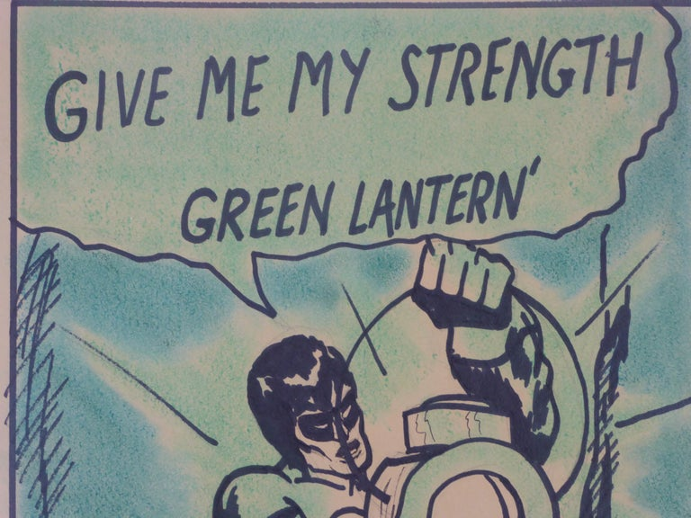 Late 20th Century 1971 the Green Lantern DC Comics Superhero Large Painting For Sale