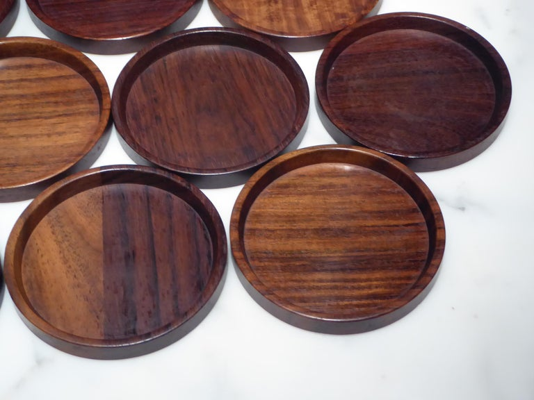 Scandinavian Modern 1960s Set 10 Danish Modern Carved Rosewood Coasters by Saap of Denmark For Sale