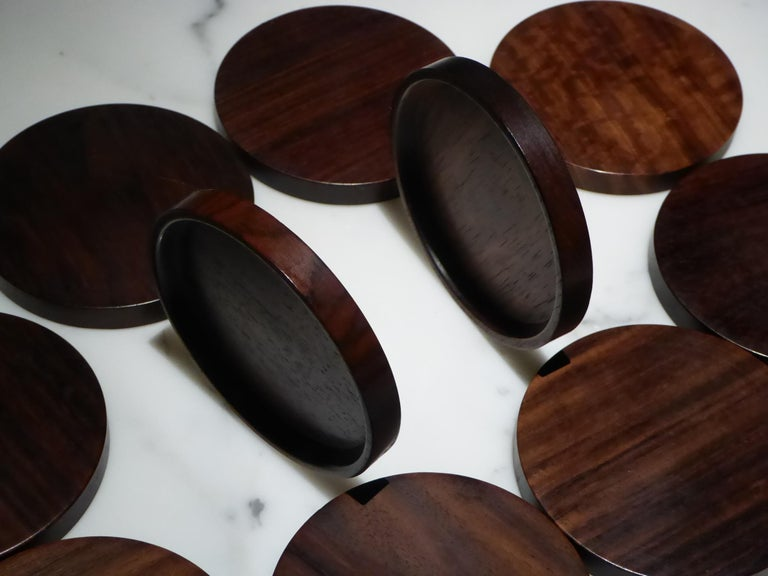 Mid-20th Century 1960s Set 10 Danish Modern Carved Rosewood Coasters by Saap of Denmark For Sale