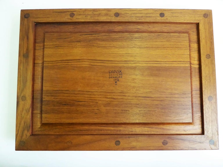Early Jens Quistgaard Teak Serving Tray with Glass Inserts For Sale 8