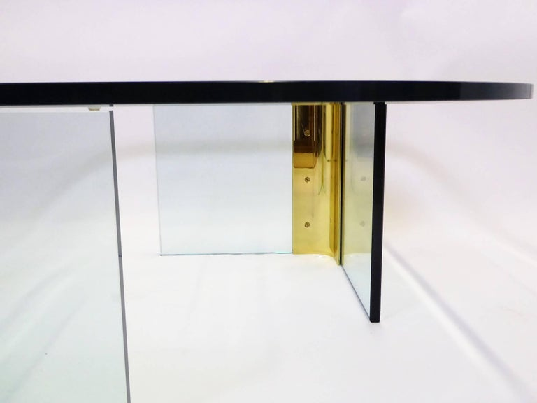 Late 20th Century Leon Rosen Style Thick Glass and Brass Coffee Table Pace Collection For Sale