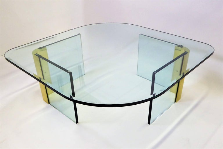 Mid-Century Modern Leon Rosen Style Thick Glass and Brass Coffee Table Pace Collection For Sale