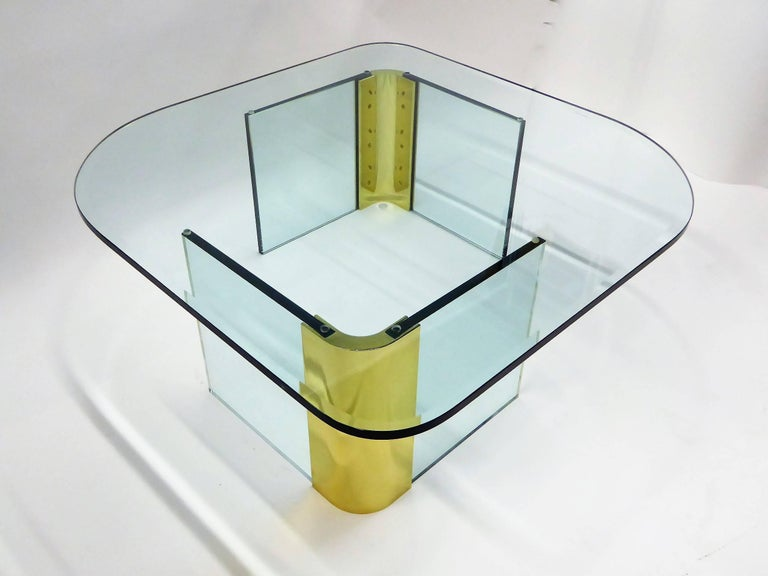 American Leon Rosen Style Thick Glass and Brass Coffee Table Pace Collection For Sale
