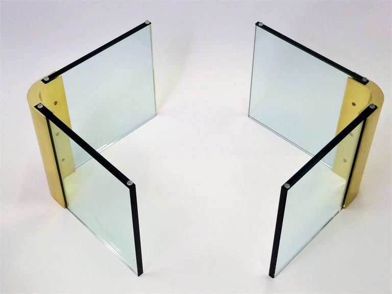 Leon Rosen Style Thick Glass and Brass Coffee Table Pace Collection For Sale 3