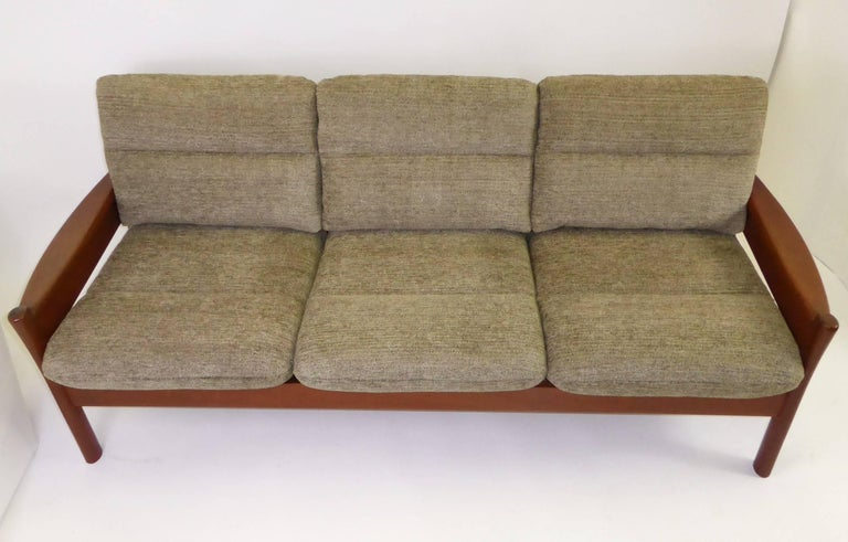 Fine 1960s Dyrlund Teak Sofa Denmark with Chenille Cushions In Excellent Condition For Sale In Miami, FL