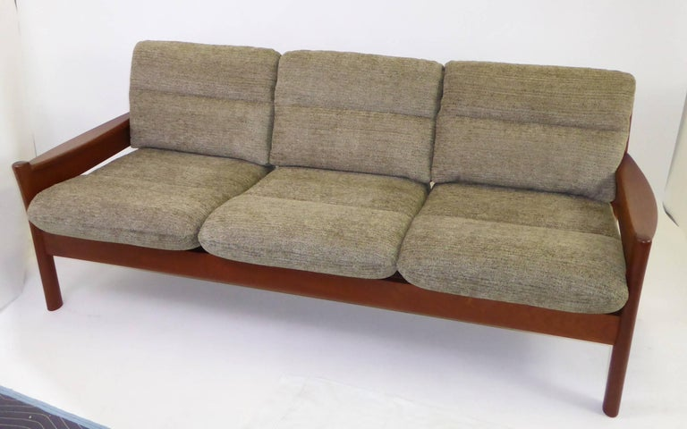 Turned Fine 1960s Dyrlund Teak Sofa Denmark with Chenille Cushions For Sale
