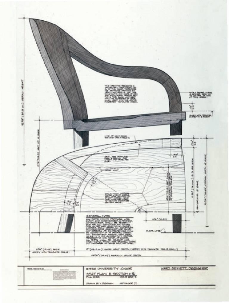 Ward Bennett 1550 University Black Ash Armchair for Brickel Associates For Sale 8