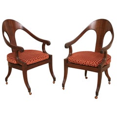 Elegant Italian Neoclassical Fruitwood Caned Seat Spoonback Armchairs