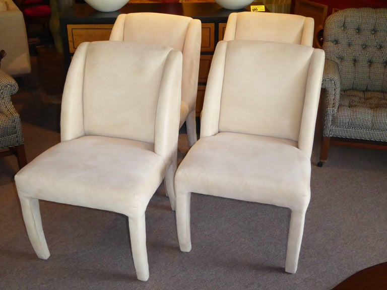 American 1980s Luxe Modern Ultrasuede Dining Chairs by Directional For Sale