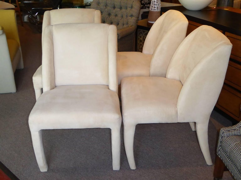 1980s Luxe Modern Ultrasuede Dining Chairs by Directional In Good Condition For Sale In Miami, FL