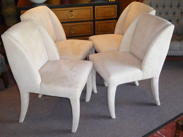 Late 20th Century 1980s Luxe Modern Ultrasuede Dining Chairs by Directional For Sale