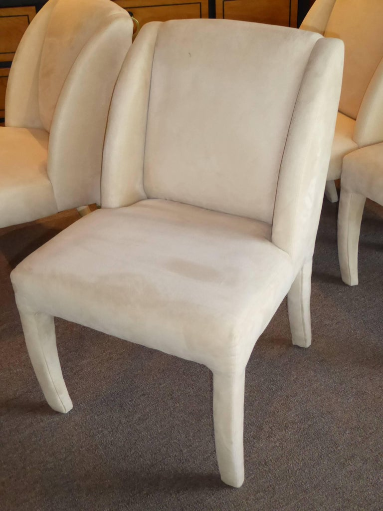 1980s Luxe Modern Ultrasuede Dining Chairs by Directional For Sale 1