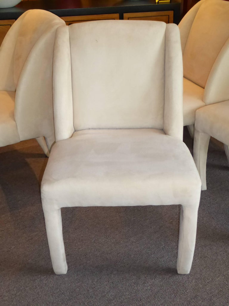 1980s Luxe Modern Ultrasuede Dining Chairs by Directional For Sale 2