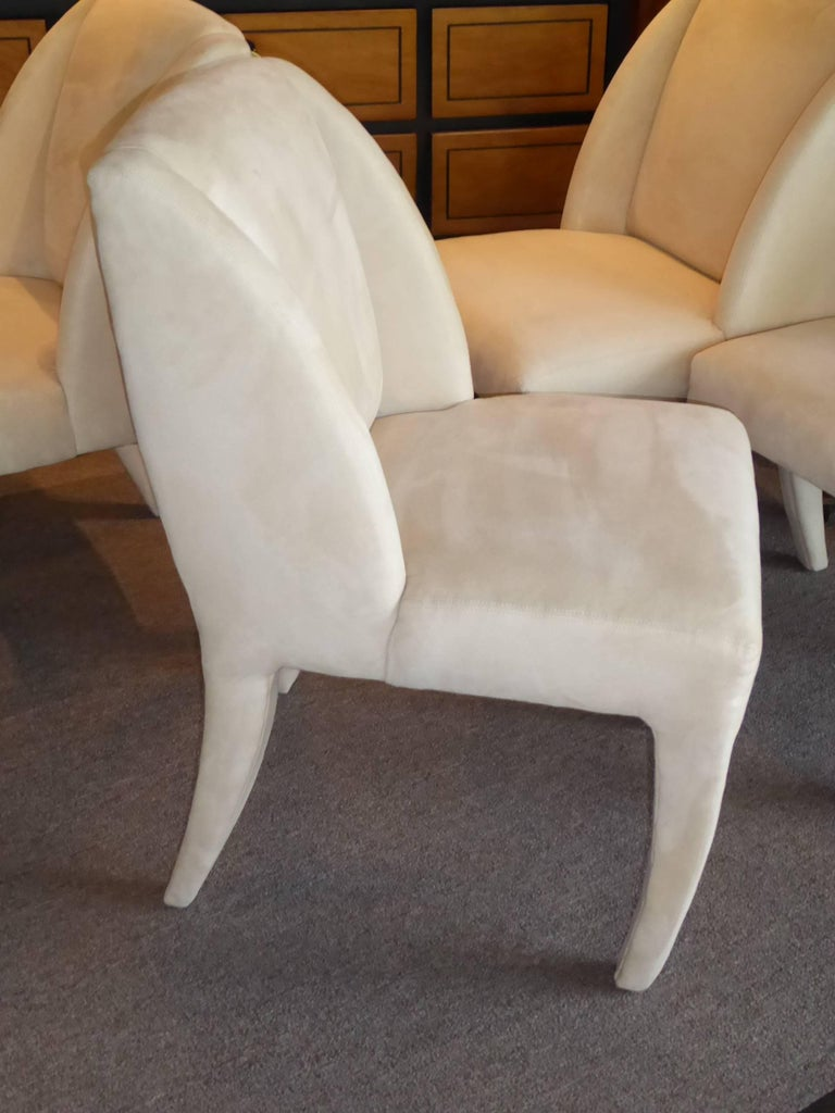 1980s Luxe Modern Ultrasuede Dining Chairs by Directional For Sale 3